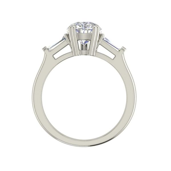 Baguette Accents 2.5 Ct VVS1 Clarity D Color Pear Cut Diamond Engagement Ring White Gold 2