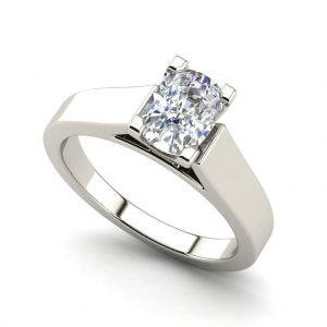 Cathedral 0.75 Carat VS1 Clarity F Color Oval Cut Diamond Engagement Ring White Gold