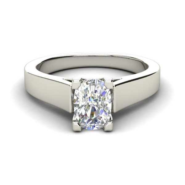 Cathedral 1.5 Carat VS2 Clarity F Color Oval Cut Diamond Engagement Ring White Gold 3