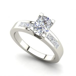 Channel Set 2.95 Carat VS2 Clarity F Color Oval Cut Diamond Engagement Ring White Gold
