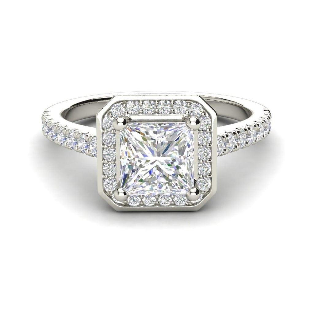 Halo Pave 0 95 Carat Vs2 H Princess Cut Diamond Engagement