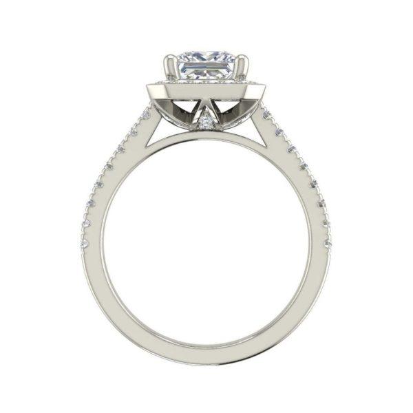 Halo Pave 3.2 Carat VS1 Clarity D Color Princess Cut Diamond Engagement Ring White Gold 2