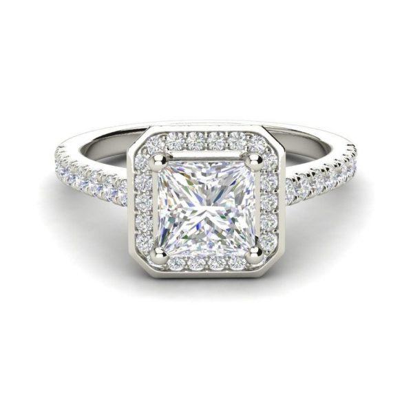 Halo Pave 3.2 Carat VS1 Clarity D Color Princess Cut Diamond Engagement Ring White Gold 3