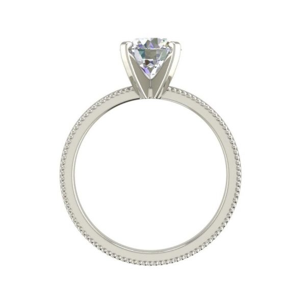 Milgrain Solitaire 0.75 Ct VS2 Clarity F Color Round Cut Diamond Engagement Ring White Gold 2