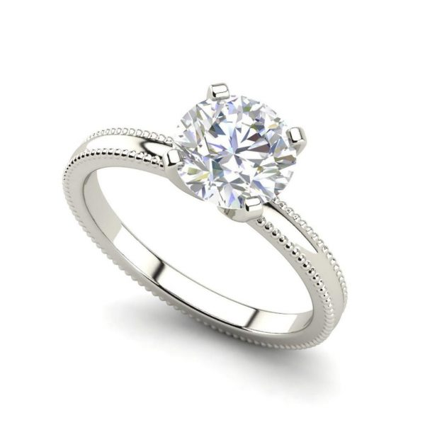 Milgrain Solitaire 0.75 Ct VS2 Clarity F Color Round Cut Diamond Engagement Ring White Gold