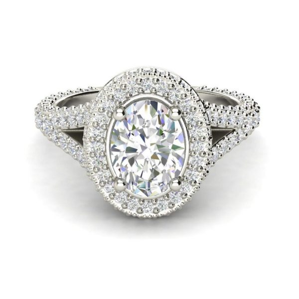 Pave Halo 2.1 Carat VS2 Clarity F Color Oval Cut Diamond Engagement Ring White Gold 2
