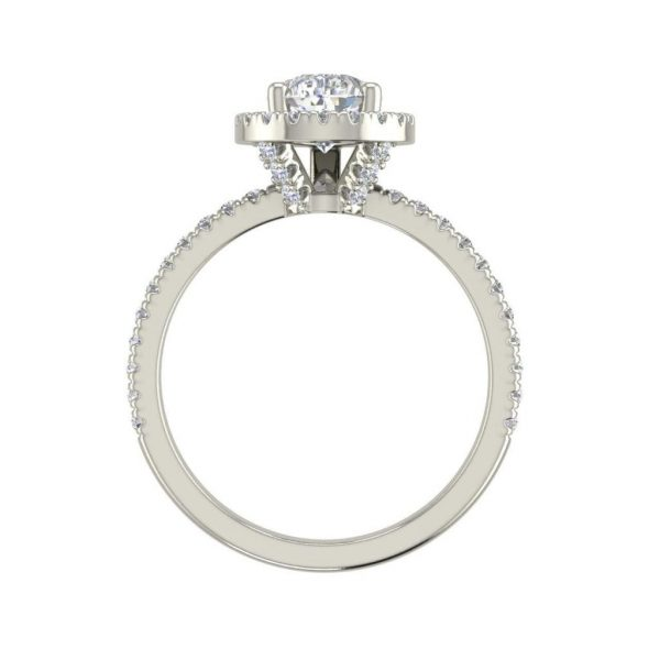 Pave Halo 2.2 Carat SI1 Clarity F Color Pear Cut Diamond Engagement Ring White Gold 2