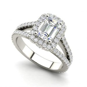 Pave Halo 2.4 Carat VS1 Clarity D Color Emerald Cut Diamond Engagement Ring White Gold