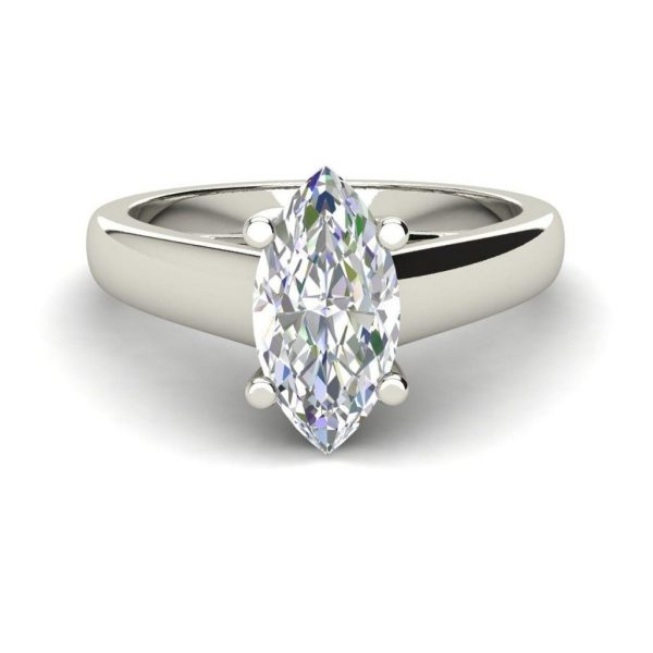 Solitaire 0.9 Carat VVS2 Clarity F Color Marquise Cut Diamond Engagement Ring White Gold 3