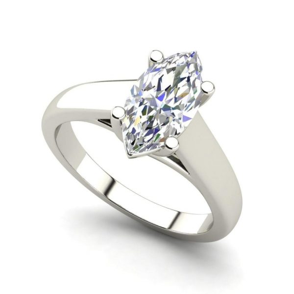 Solitaire 0.9 Carat VVS2 Clarity F Color Marquise Cut Diamond Engagement Ring White Gold