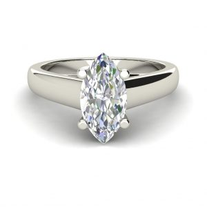 Solitaire 2 Carat SI1 Clarity D Color Marquise Cut Diamond Engagement Ring White Gold 3