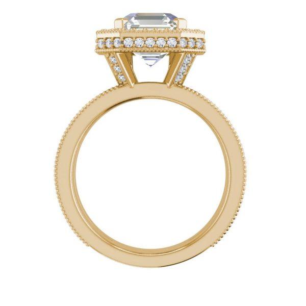 Split Shank 2.15 Carat SI1 Clarity F Color Asscher Cut Diamond Engagement Ring Yellow Gold 2
