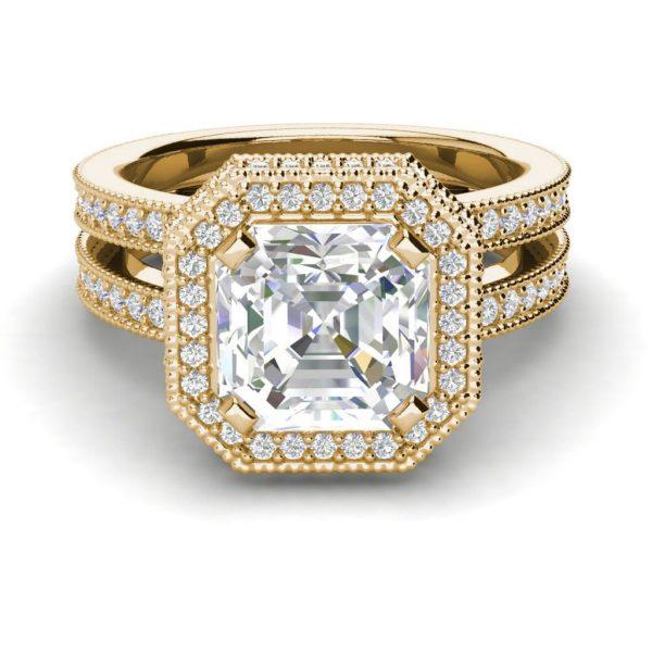 Split Shank 2.15 Carat SI1 Clarity F Color Asscher Cut Diamond Engagement Ring Yellow Gold 3