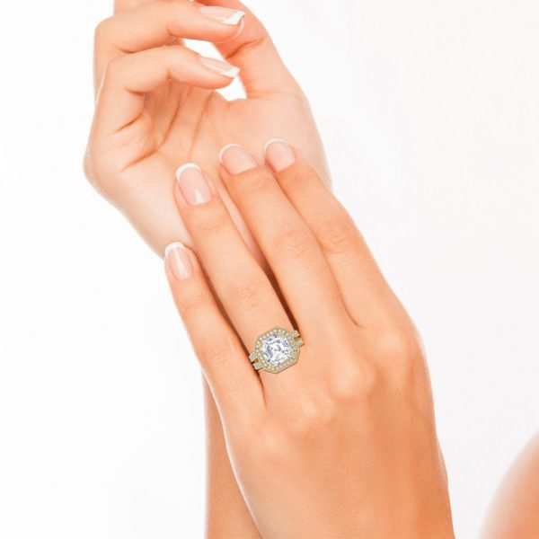 Split Shank 2.15 Carat SI1 Clarity F Color Asscher Cut Diamond Engagement Ring Yellow Gold 4