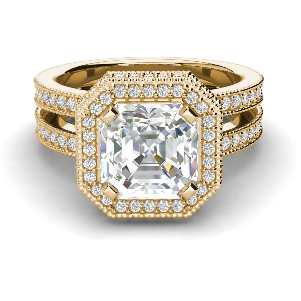 Split Shank 2.75 Carat VS2 Clarity F Color Asscher Cut Diamond Engagement Ring Yellow Gold 3