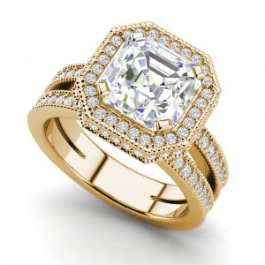Split Shank 3.5 Carat VS1 Clarity F Color Asscher Cut Diamond Engagement Ring Yellow Gold