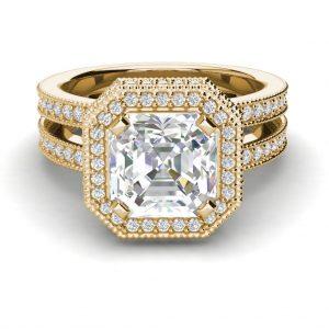 Split Shank 4 Carat VS2 Clarity H Color Asscher Cut Diamond Engagement Ring Yellow Gold 3