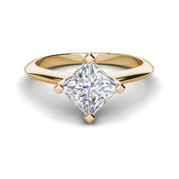 4 Prong 0.75 Carat VS1 Clarity F Color Princess Cut Diamond Engagement Ring Yellow Gold 2