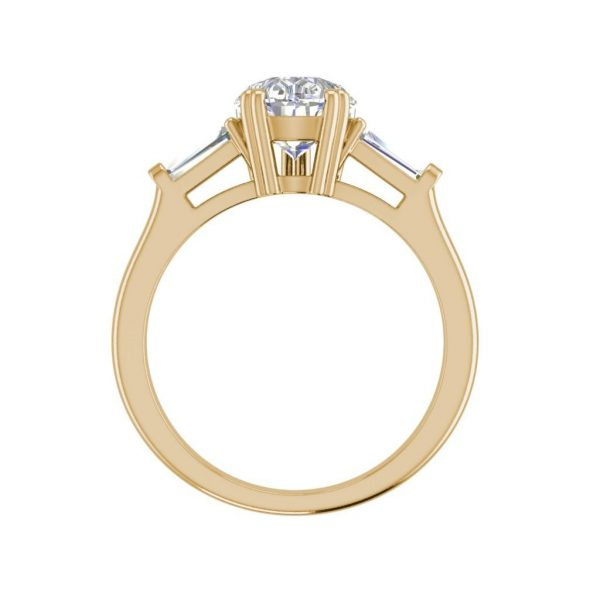 Baguette Accents 2.5 Ct VVS1 Clarity D Color Pear Cut Diamond Engagement Ring Yellow Gold 2