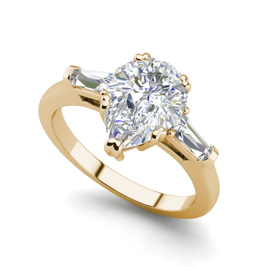 Baguette Accents 2.5 Ct VVS1 Clarity D Color Pear Cut Diamond Engagement Ring Yellow Gold