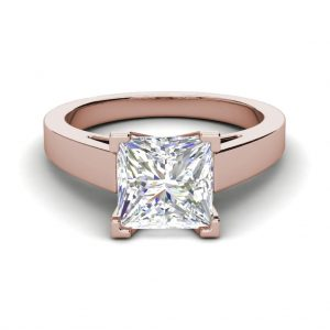 Cathedral 1 Carat VS1 Clarity H Color Princess Cut Diamond Engagement Ring Rose Gold 3