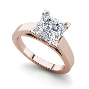 Cathedral 1 Carat VS1 Clarity H Color Princess Cut Diamond Engagement Ring Rose Gold