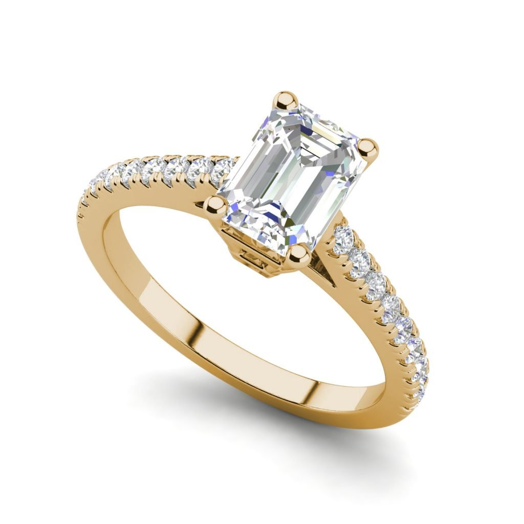 Classic Pave 2.7 Carat VVS1 Clarity D Color Emerald Cut Diamond Engagement Ring Yellow Gold