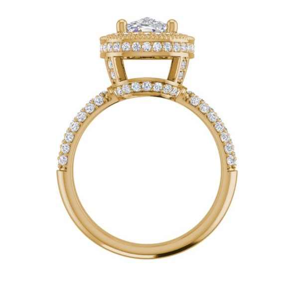 Halo 2.25 Carat VS2 Clarity F Color Cushion Cut Diamond Engagement Ring Yellow Gold 2