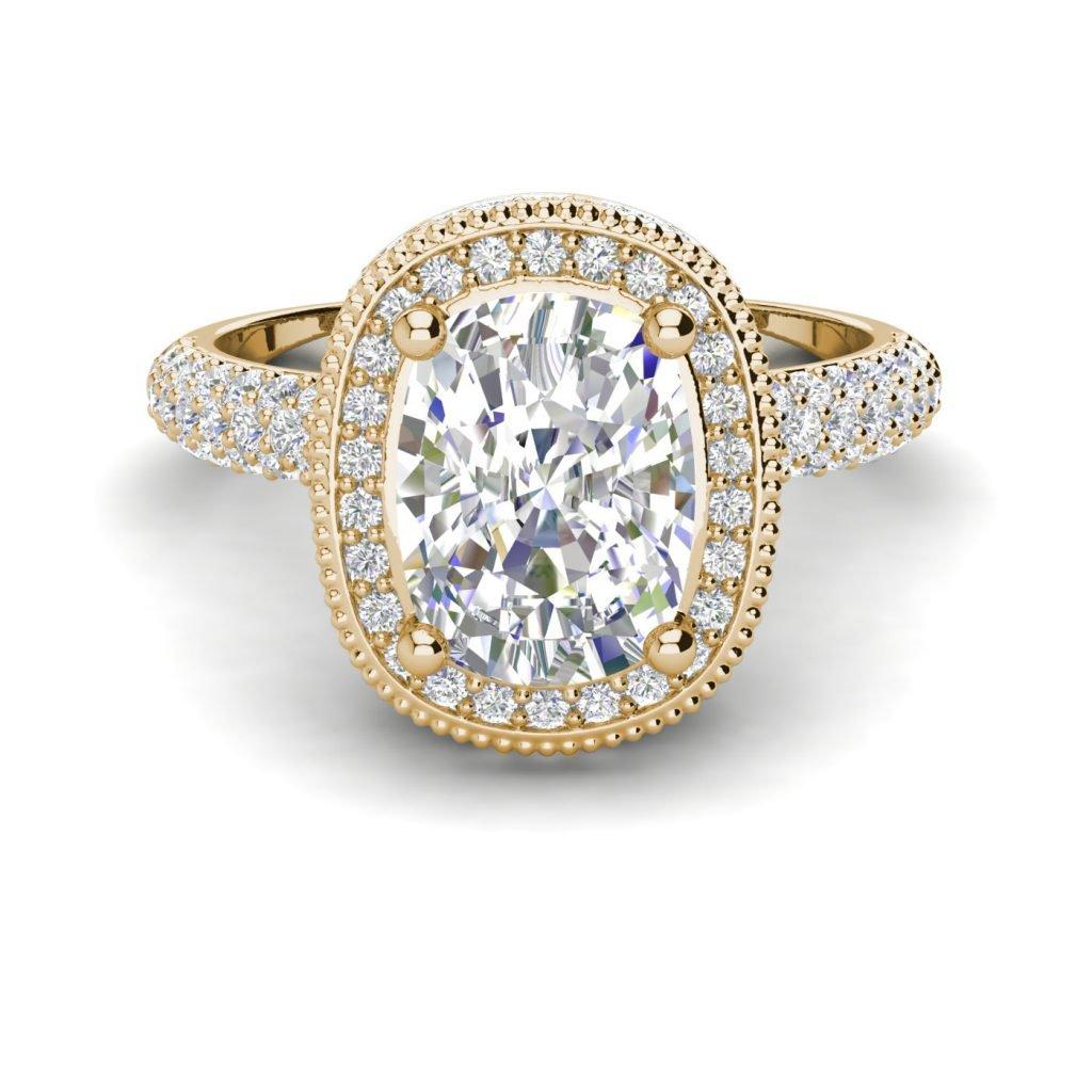Halo 2.25 Carat VS2 Clarity F Color Cushion Cut Diamond Engagement Ring Yellow Gold 3