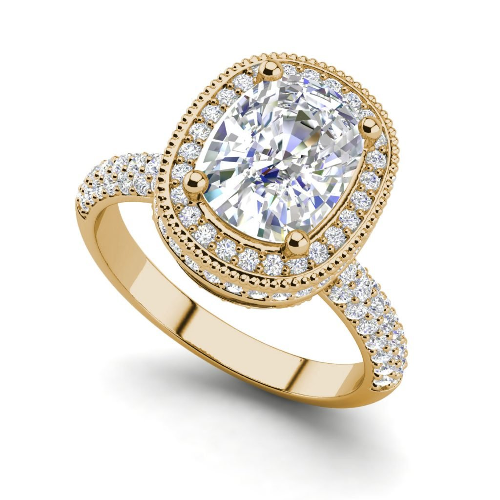 Halo 2.25 Carat VS2 Clarity F Color Cushion Cut Diamond Engagement Ring Yellow Gold