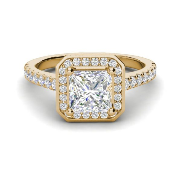 Halo Pave 0.95 Carat VS2 Clarity H Color Princess Cut Diamond Engagement Ring Yellow Gold 3