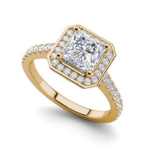 Halo Pave 0.95 Carat VS2 Clarity H Color Princess Cut Diamond Engagement Ring Yellow Gold