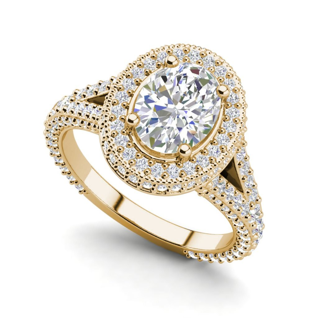 Pave Halo 2.1 Carat VS2 F Oval Cut Diamond Engagement Ring