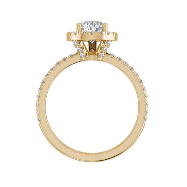 Pave Halo 2.2 Carat SI1 Clarity F Color Pear Cut Diamond Engagement Ring Yellow Gold 2
