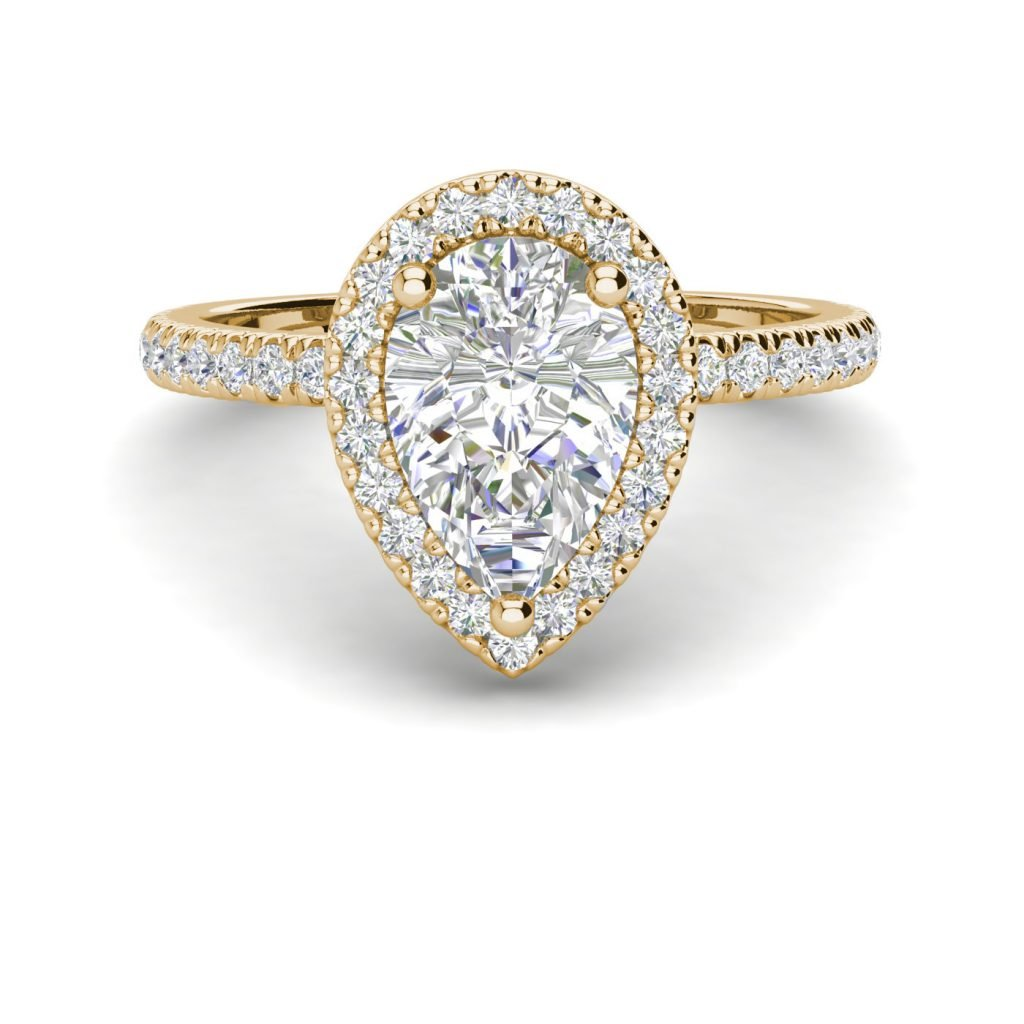 Pave Halo 2.2 Carat SI1 Clarity F Color Pear Cut Diamond Engagement Ring Yellow Gold 3