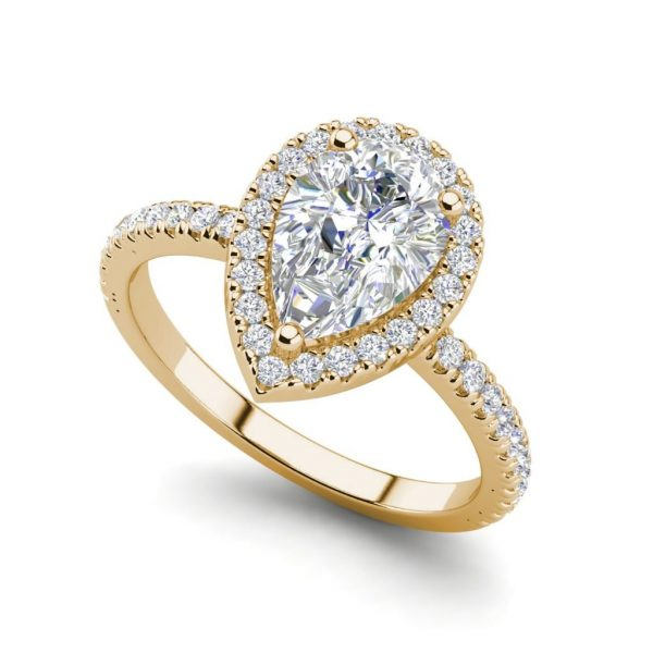 Pave Halo 2.2 Carat SI1 Clarity F Color Pear Cut Diamond Engagement Ring Yellow Gold