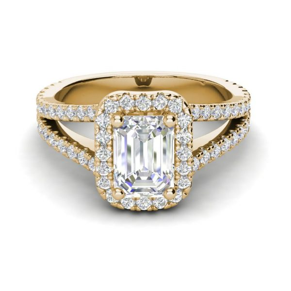 Pave Halo 2.4 Carat VS2 Clarity F Color Emerald Cut Diamond Engagement Ring Yellow Gold 3