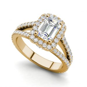 Pave Halo 2.4 Carat VS2 Clarity F Color Emerald Cut Diamond Engagement Ring Yellow Gold