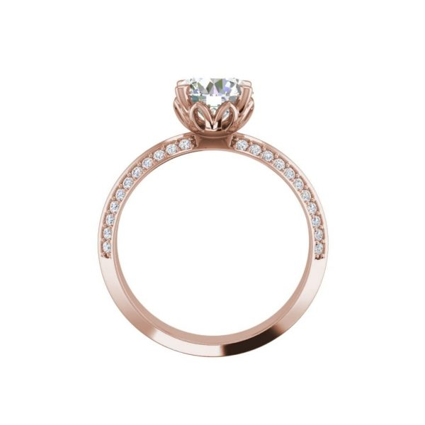 Pave Milgrave 1.35 Carat VS1 Clarity D Color Round Cut Diamond Engagement Ring Rose Gold 2