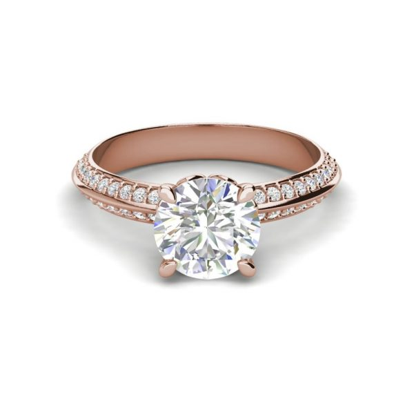 Pave Milgrave 1.35 Carat VS1 Clarity D Color Round Cut Diamond Engagement Ring Rose Gold 3