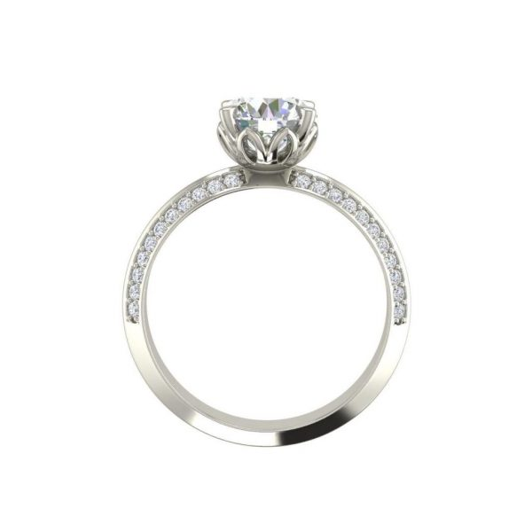 Pave Milgrave 1.35 Carat VS1 Clarity D Color Round Cut Diamond Engagement Ring White Gold 2