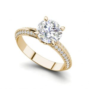 Pave Milgrave 1.35 Carat VS1 Clarity D Color Round Cut Diamond Engagement Ring Yellow Gold