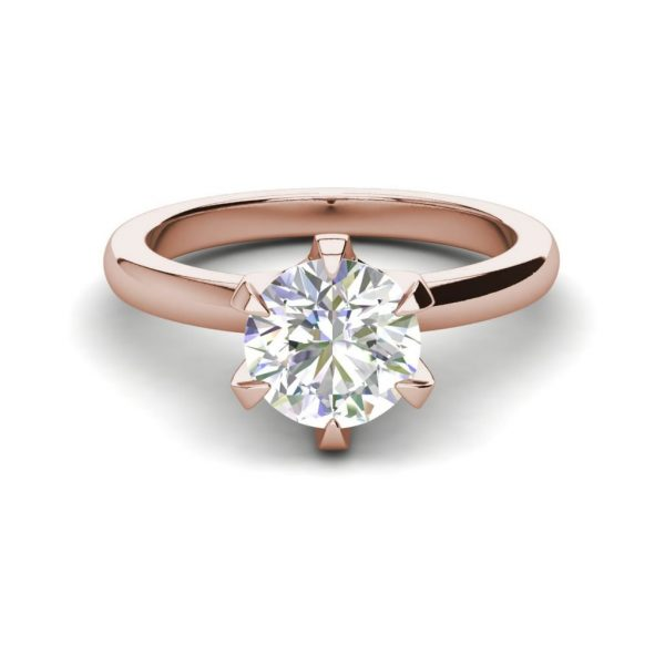 Solitaire 0.9 Carat VS2 Clarity D Color Round Cut Diamond Engagement Ring Rose Gold 3