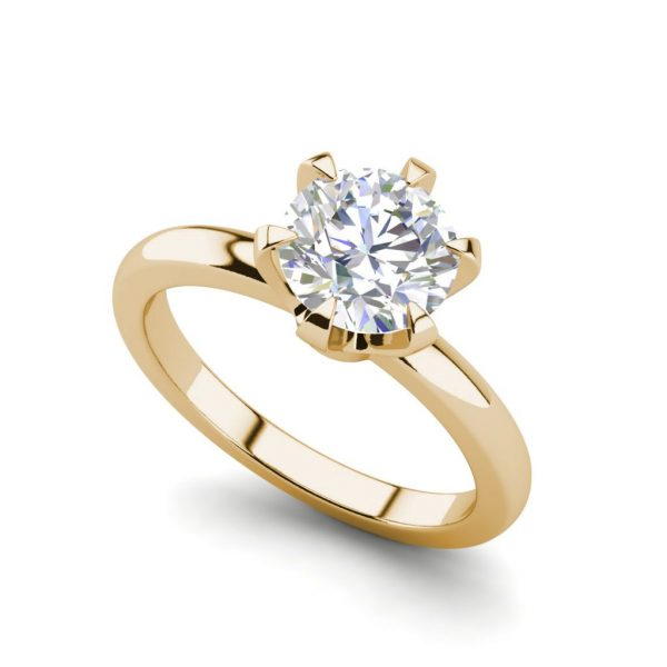Solitaire 0.9 Carat VS2 Clarity D Color Round Cut Diamond Engagement Ring Yellow Gold