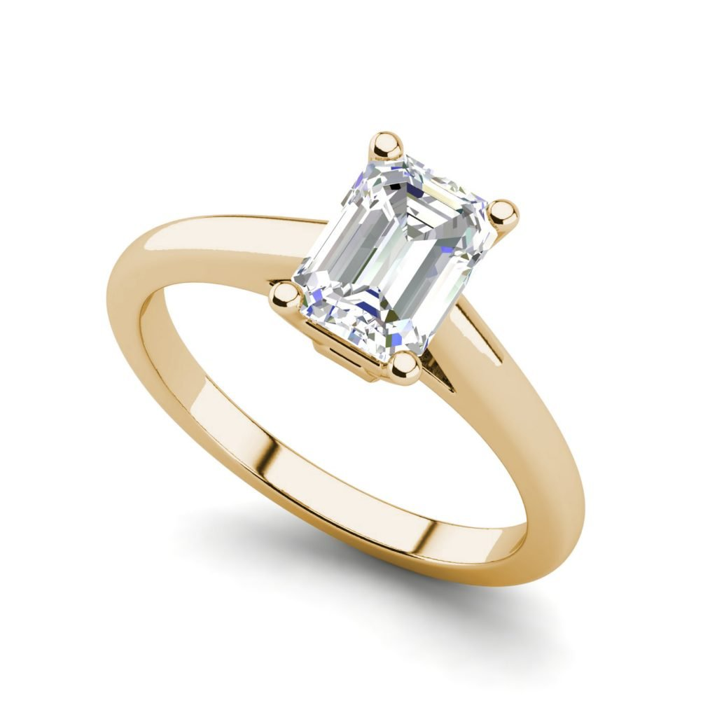 Solitaire 1.75 Carat VS2 Clarity F Color Emerald Cut Diamond Engagement Ring Yellow Gold
