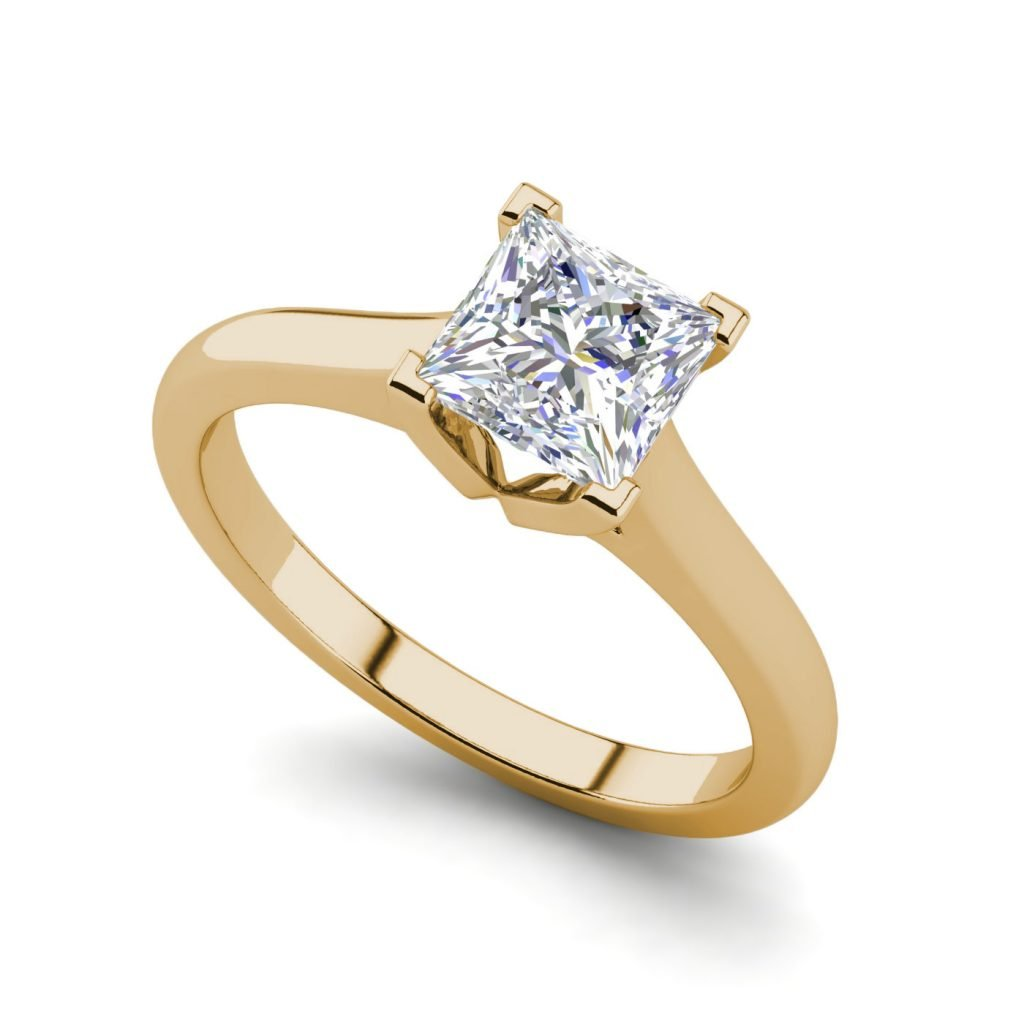 Solitaire 2.5 Carat VVS1 Clarity D Color Princess Cut Diamond Engagement Ring Yellow Gold