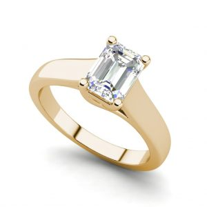 Trellis Solitaire 0.9 Ct VS2 Clarity D Color Emerald Cut Diamond Engagement Ring Yellow Gold
