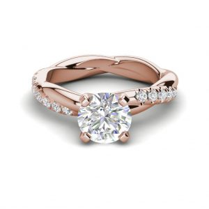Twist Rope Style 1.75 Carat VS2 Clarity F Color Round Cut Diamond Engagement Ring Rose Gold 3
