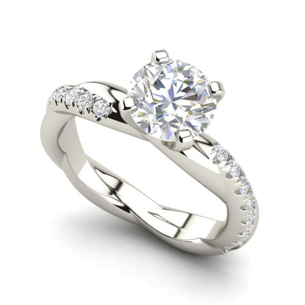Twist Rope Style 1.75 Carat VS2 Clarity F Color Round Cut Diamond Engagement Ring White Gold