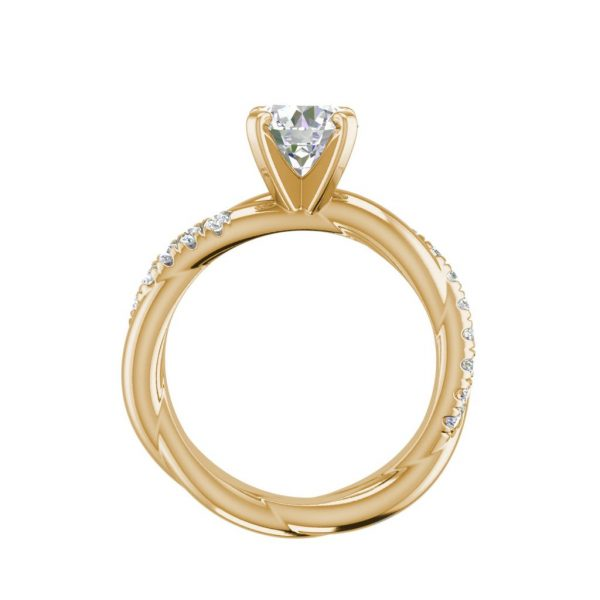 Twist Rope Style 1.75 Carat VS2 Clarity F Color Round Cut Diamond Engagement Ring Yellow Gold 2